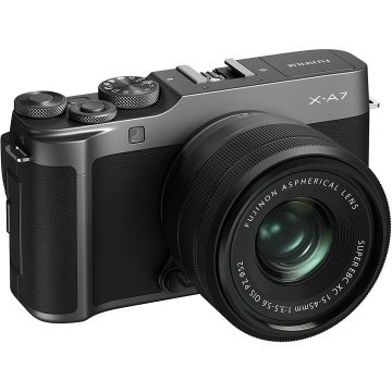 Fujifilm X-A7 Mirrorless Camera (Dark Silver) with Black XC15-45mm Lens [jaunty angle]